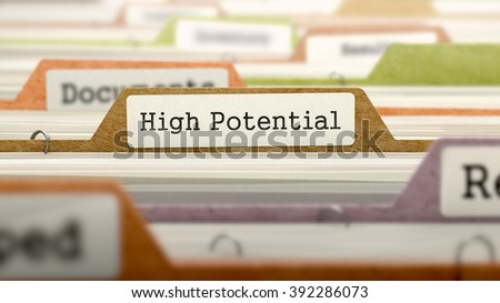 High Potential Concept on File Label in Multicolor Card Index. Closeup View. Selective Focus. 3D Render.  - stock photo