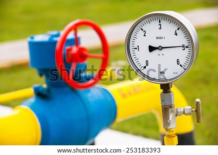 High pressure reading on gas wellhead  - stock photo