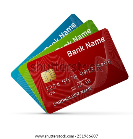 High quality and very detailed realistic illustration of a plastic credit card. Isolated on white. - stock photo