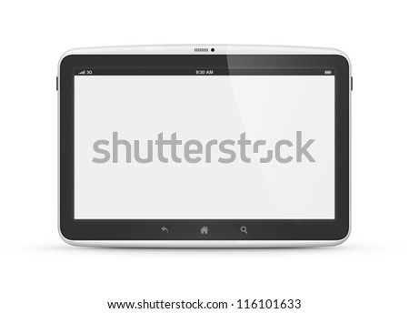 High quality and very detailed realistic illustration of modern digital android tablet computer with blank screen isolated on white. - stock photo