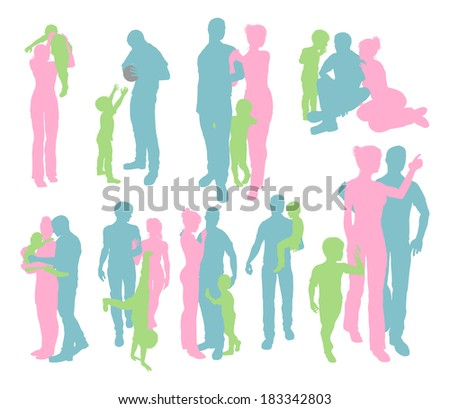 High quality and very detailed silhouettes of a young happy family, mother and father and child, in various poses  - stock photo