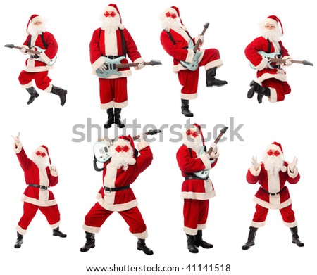 High quality Christmas collection of a happy Santa isolated over white background. - stock photo