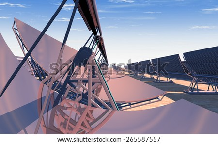 High Quality 3D render of concentrated solar power (CSP) panels tracking the sun in the desert. Mid-morning sun rising on the reflected horizon. - stock photo