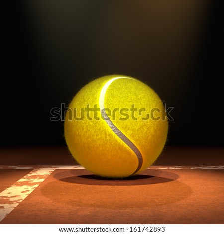 High quality 3D tennis ball in a dark environment on a red tennis court floor with volumetric spot lights for any kind of tennis sports projects. - stock photo