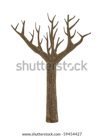 high quality dead tree isolated on white - stock photo