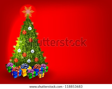 High-quality illustration for the New Year holidays./Real Christmas Tree - stock photo