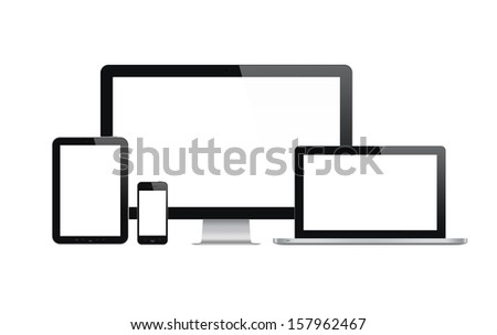High quality illustration set of modern technology devices - computer monitor, laptop, digital tablet and mobile phone with blank screen. Isolated on white background.  - stock photo