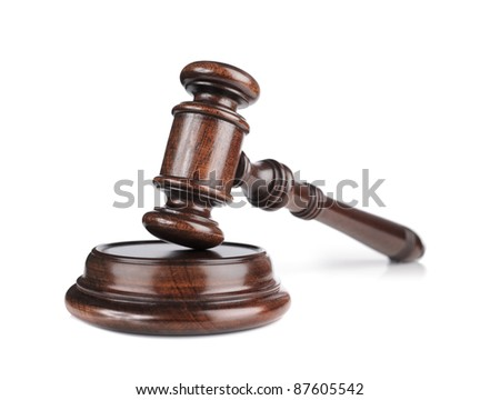 High quality mahogany wooden gavel with a sound block. - stock photo