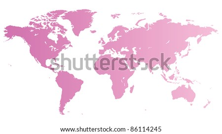High quality pink map of the World. Raster version. Vector version is also available. - stock photo