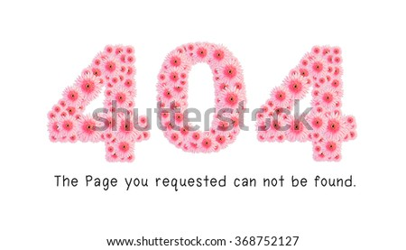 High Quality Raster Flower Alphabet, Number 404, Error 404 page not found - stock photo
