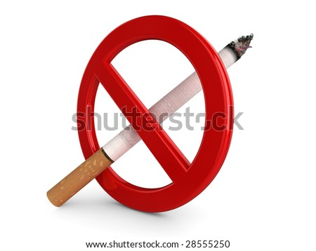 High quality, realistic 3d illustration of a 'No Smoking' sign. - stock photo
