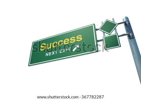 """High quality render of a highway road sign with  """" Success """"  text on it. Isolated on white background. Clipping path included. - stock photo"""