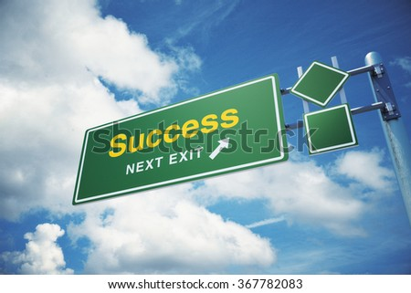 """High quality render of a highway road sign with  """" Success """"  text on it. The sign is placed against a blue sky with fluffy clouds.. - stock photo"""