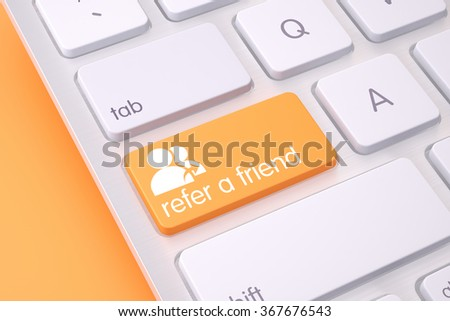 High quality render of a modern aluminum computer keyboard detail with orange refer a friend text on it. - stock photo