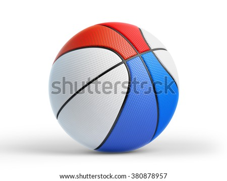 High quality render of 3D basket ball with Dutch flag on white and drop shadow. Clipping path included so shadow can easily remove if needed. - stock photo