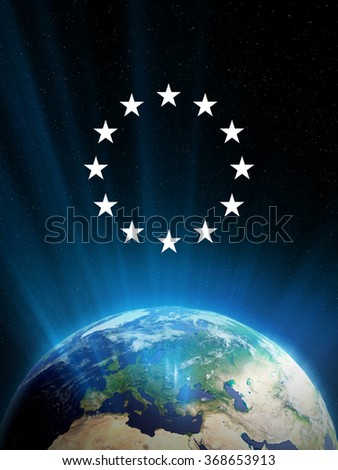 High quality render of Planet Earth with light streaks. European community stars above it. Transparent water, shaded relief, natural colors, cloud coverage.  - stock photo