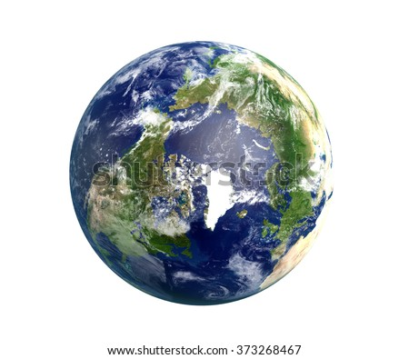 High quality render of Planet Earth with light streaks over stars.  The North Pole is in focus. Transparent water, shaded relief, natural colors and clouds coverage. World map courtesy of NASA. - stock photo