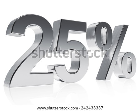 High quality rendering of a silver symbol for 25% discount or gain with a subtle reflection. The rendering has even scratches for realism. - stock photo