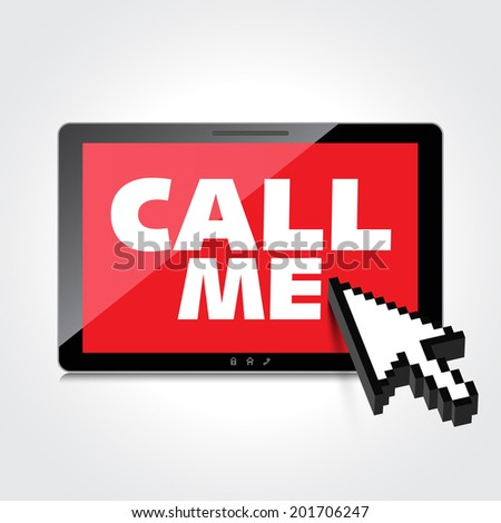 High-quality smartphone screen with the text message Call me. - stock photo