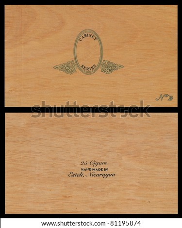 High quality wood cigar box. top and bottom - stock photo