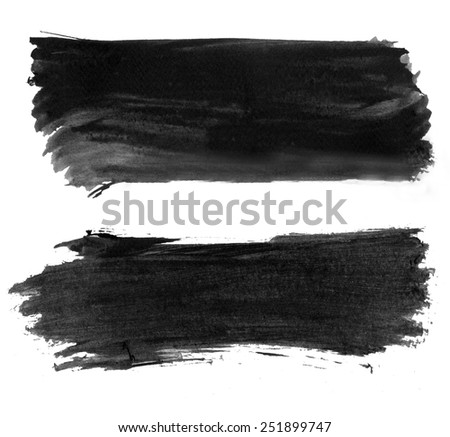 High resolution abstract black watercolor strokes isolated - stock photo