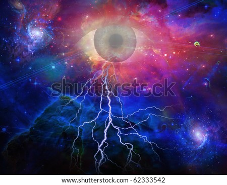 High Resolution All seeing Eye and Space - stock photo