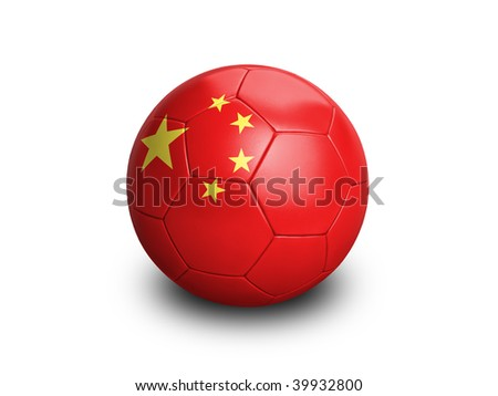 High resolution and highly detailed 3D rendering of a chinese soccerball. With clipping path removes the soft shadow. This country qualified for the 2010 soccer world cup in South Africa. - stock photo