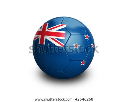High resolution and highly detailed 3D rendering of a new zealand soccer ball. With clipping path removes the soft shadow. This country qualified for the 2010 soccer world cup in South Africa. - stock photo