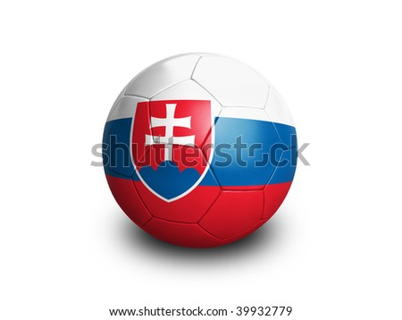 High resolution and highly detailed 3D rendering of a slovakian soccerball. With clipping path removes the soft shadow. This country qualified for the 2010 soccer world cup in South Africa. - stock photo