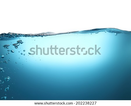 High resolution beautiful bubbles in the clear blue water. Can be used as background. - stock photo