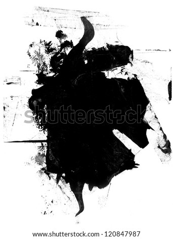High resolution black and white grunge mask - stock photo