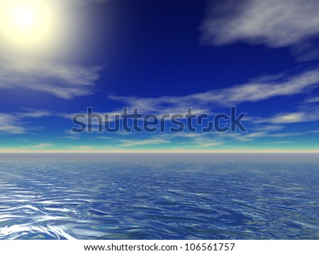 High resolution blue sea water with a blue sky background - stock photo
