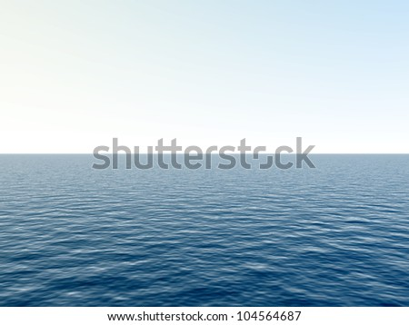 High resolution blue water and sky with clouds background,ideal for nature and summer designs - stock photo