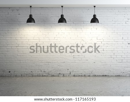 High resolution brick concrete room with ceiling lamp - stock photo