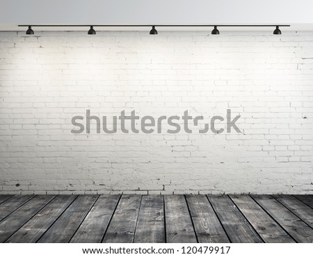 High resolution brick room with ceiling lamp - stock photo
