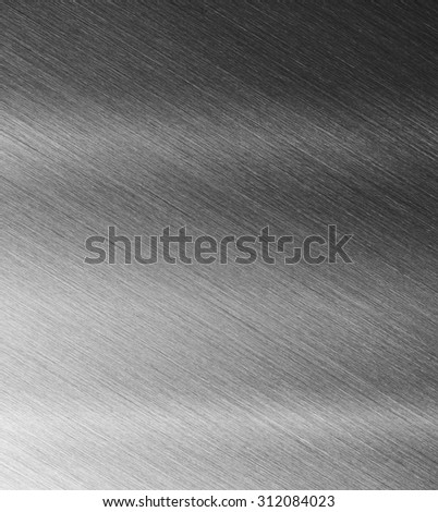 High resolution brushed metal or textured metal, with reflection. Sharp to the corners. - stock photo