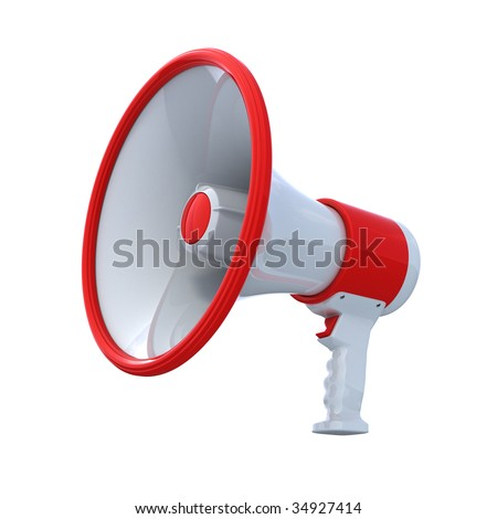 High Resolution bullhorn isolated on white , with clipping path , 3d render - stock photo