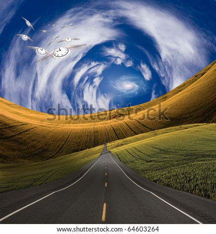 High Resolution Clocks and road into distance - stock photo