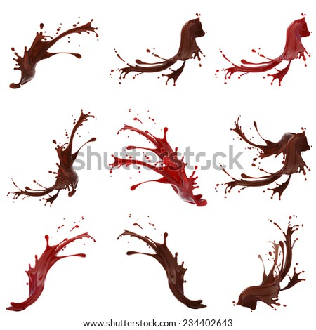 High resolution coffe and red paint splashes collection isolated on white background  - stock photo
