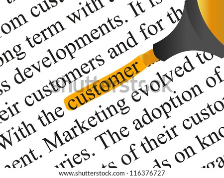 High resolution concept or conceptual abstract black text isolated on white paper background with orange marker as a metaphor for customer,target,marketing,client,service,strategy,business or consumer - stock photo