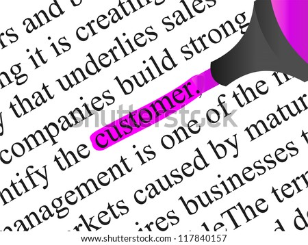 High resolution concept or conceptual abstract black text isolated on white paper background with pink marker as a metaphor for customer,target,marketing,client,service,strategy,business or consumer - stock photo