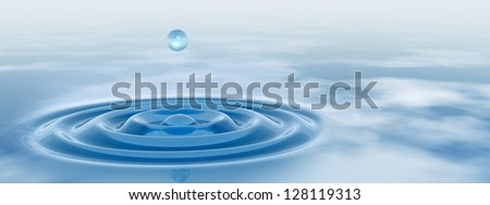 High resolution concept or conceptual blue liquid drop falling in water background banner with ripples and waves, ideal for nature,natural,summer,spa,cool,business,environment,rain or health design - stock photo