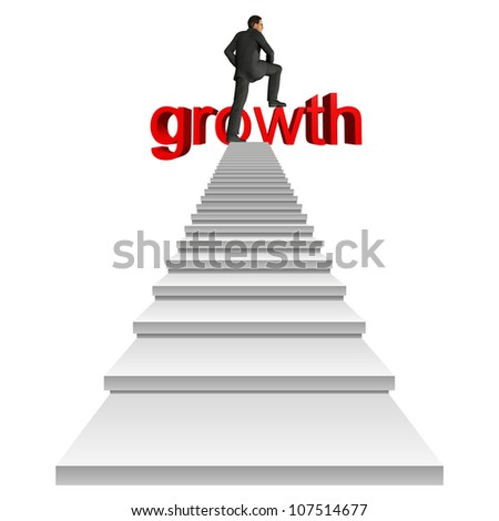 High resolution concept or conceptual businessman in top of white stair over a red 3d growth text isolated on white background,for business,man,money, progress,achievement,wealth,market or improvement - stock photo
