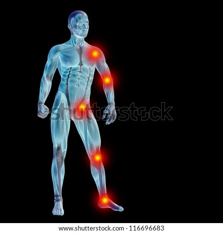 High resolution concept or conceptual 3D human anatomy body with pain isolated on black background as a metaphor to health,medicine,medical,biology,osteoporosis,arthritis,joint,inflammation or ache - stock photo