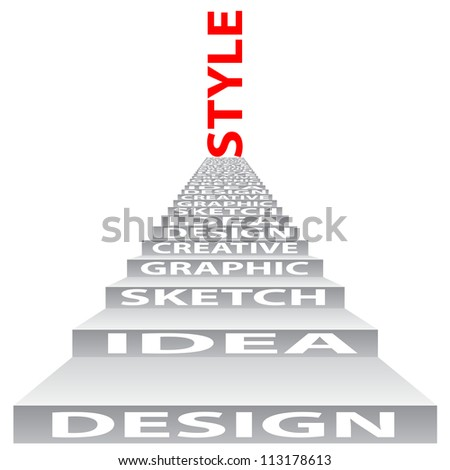 High resolution concept or conceptual 3D stair or steps isolated on white background as metaphor for design,graphic,hand ,child,young,idea,style,creative,fashion,artist,art,decor abstract project - stock photo