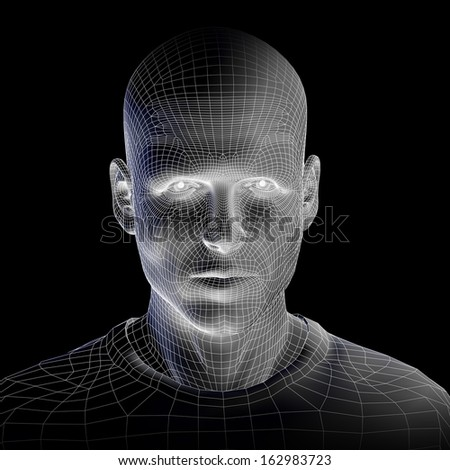 High resolution concept or conceptual 3D wireframe human male head isolated on black background as a metaphor for technology,cyborg,digital,virtual,avatar,model,science,fiction,future,mesh or abstract - stock photo