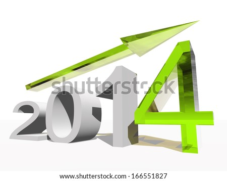 High resolution concept or conceptual 3D 2014 year and arrow as metaphor to success,growth,graph,future,finance,financial,new year,holiday,increase,rise,date,forecast or progress.Also for december - stock photo