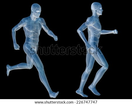 High resolution concept or conceptual human or man 3D anatomy body with muscle isolated on black background, metaphor to medicine, sport, male, muscular, medical, health, biology, fitness group or set - stock photo