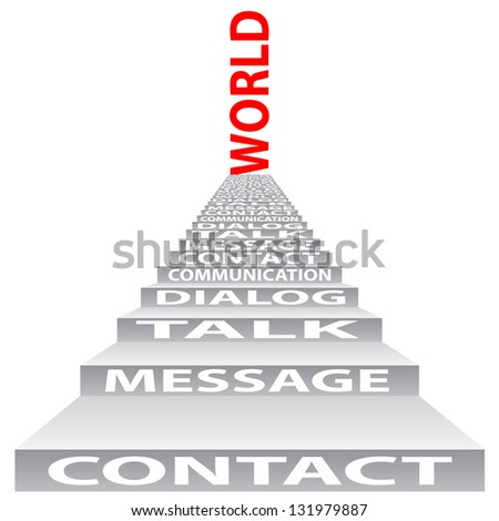 High resolution concept or conceptual red text on stair isolated on white background as metaphor for communication,speech,message,mail,relation,dialog,talk,report,contact,stair,climb,email or internet - stock photo
