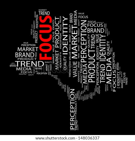 High resolution concept or conceptual tree word cloud on black background as metaphor for business,brand,trend,media,focus,market,value,product,advertising or customer.Also for corporate wordcloud - stock photo